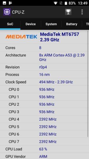 「Blackview BV8000 Pro」CPU-Z