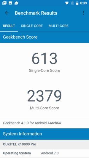 OUKITEL K10000 Pro:Geekbench 4スコア