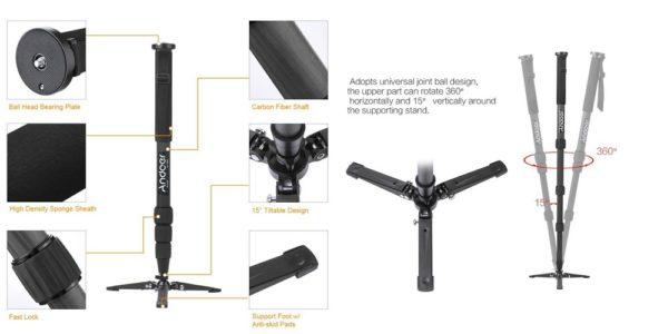 「Andoer カメラ一脚 TP-340C」の特徴/仕様