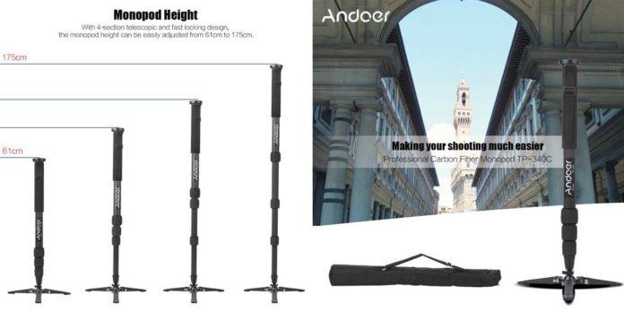 【レビュー】カーボン製で軽くて強い!「Andoer カメラ一脚」はΦ34mmのしっかりしたパイプ径とミニ三脚付きでコスパ抜群!
