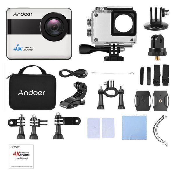 「Andoer 4K WiFi アクションカメラ」のセット内容