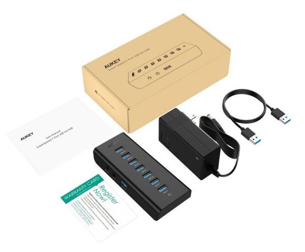 「AUKEY USB3.0ハブ 7ポート セルフパワー CB-H3」のセット内容