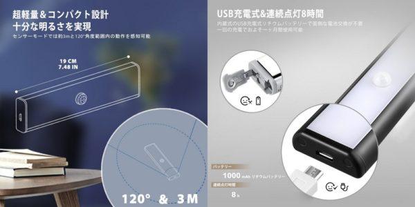 「AVANTEK LEDセンサーライト LE-020」の特徴/仕様