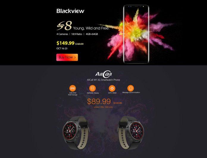 GearBestがAndroidスマホ「Blackview S8」とスマートウォッチ「AllCall W1 3G Smartwatch Phone」の独占新規発売記念セールを開催中!