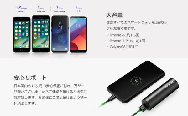 「Tronsmart モバイルバッテリー 5000mAh PB5」の特徴/仕様