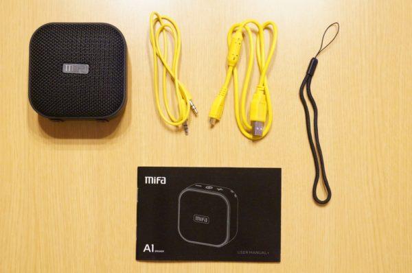 「MIFA Bluetooth ポータブルスピーカー A1」のセット内容