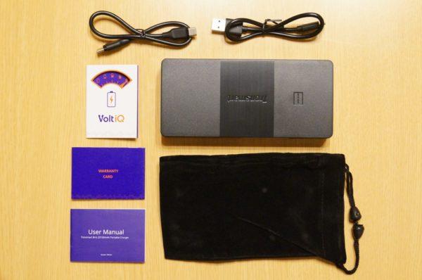 「Tronsmart Brio 20100mAh モバイルバッテリー」のセット内容