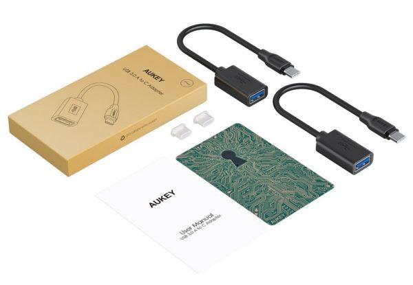 「AUKEY USB C 変換コネクタ Type C to USB 3.0 OTGケーブル (2本セット)」のセット内容