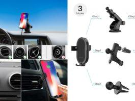 【レビュー】車でも手軽にワイヤレス充電!「dodocool Qiワイヤレス車載充電器 DA188」があればiPhone Xや8も車内でワイヤレス充電可能!スマホホルダーとしても便利!