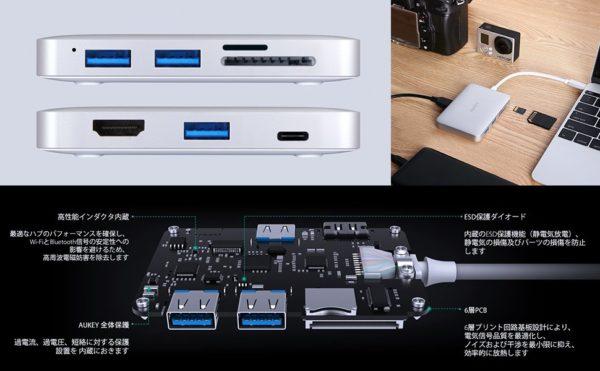 5月10日まで!200台限定で「AUKEY USB-C 7ポートハブ」がクーポン利用で4,239円に!
