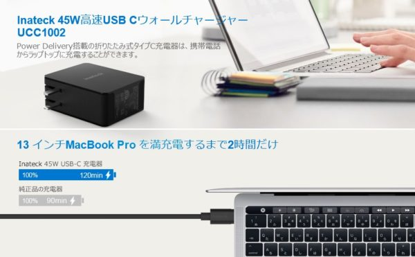 「Inateck 45W USB C / PD充電器 UCC1002」の特徴/仕様