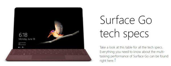 Surface Go スペック一覧