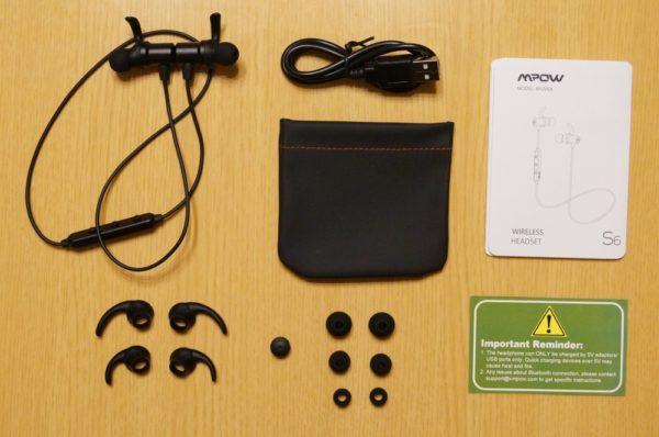 「Mpow S6 Bluetooth イヤホン」のパッケージ内容