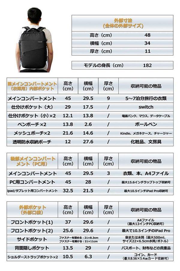 「Inateck 超大容量バックパック BP03002」のサイズ/仕様