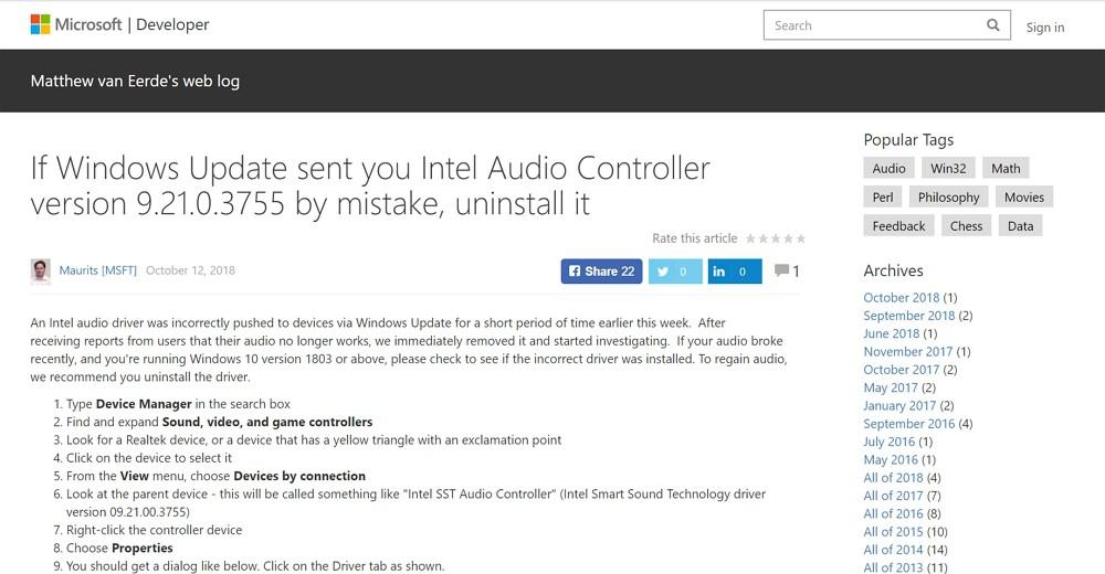Windows 10 バージョン 1803以降で「Windows Update」適用後にパソコンから音が出なくなる不具合あり。該当ユーザーは再度アップデートを。