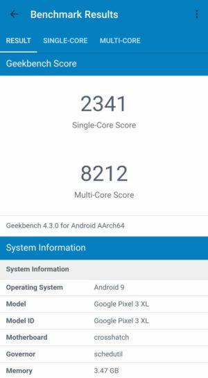 Google Pixel 3 XL Geekbench 4 スコア