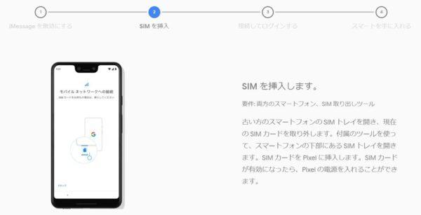 iPhone XからPixel 3 XLへデータ移行手順:SIMカードの入れ替え。MNPの場合は新しいSIMカードの開通処理を行う。