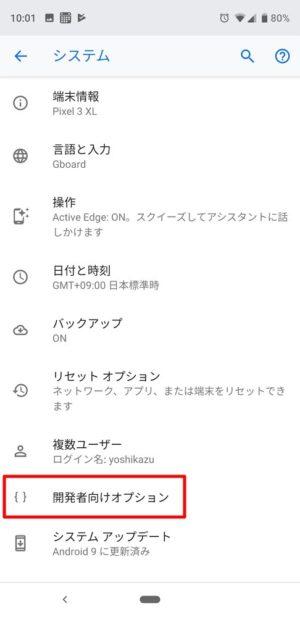 Android 9:開発者向けオプションを表示する方法