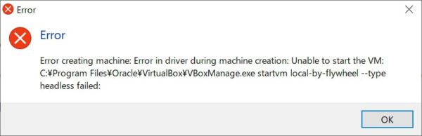 Error creating machine: Error in driver during machine creation: