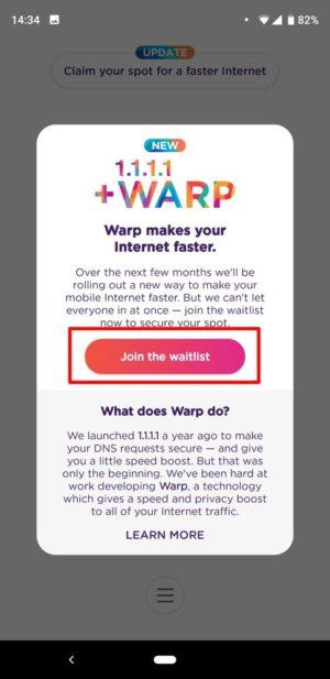 「1.1.1.1」アプリで無料VPN「Warp」の利用予約を行う方法