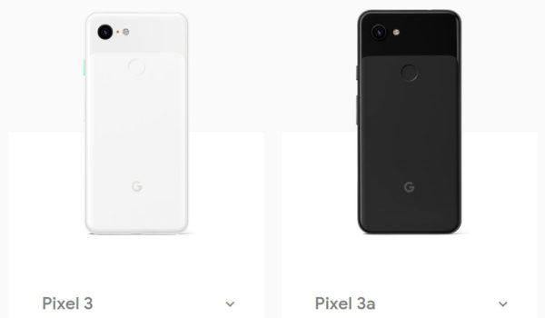 Pixel 3とPixel 3aの主要スペック比較。
