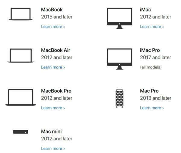 macOS Catalinaにアップデート可能な対応機種一覧