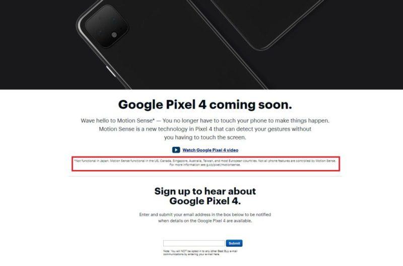 BEST BUYの「Pixel 4」プロモーションページに「Motion Sense」は日本では機能しないとの一文が