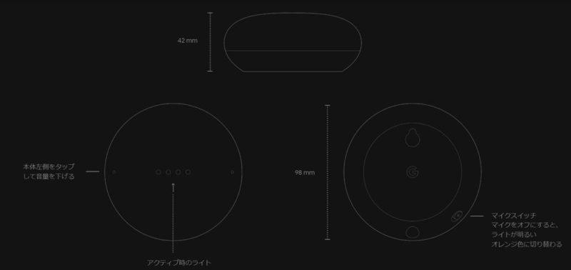 「Google Nest Mini」の基本的な本体操作方法