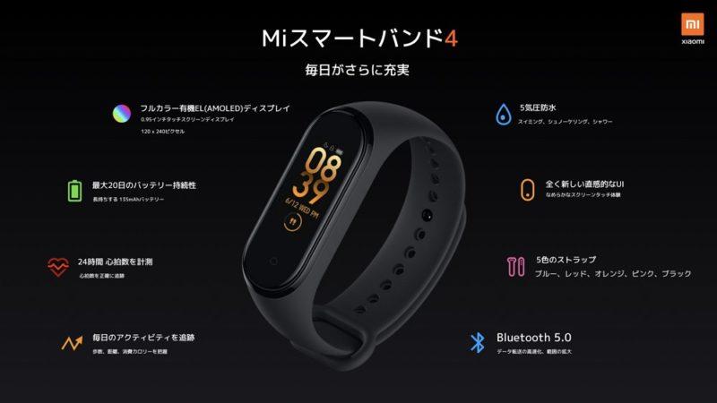 Mi Smart Band 4:手頃な価格のスマートバンド。通知の確認や健康管理に便利!20日持つバッテリーも魅力的!iPhoneユーザーにもおすすめ!