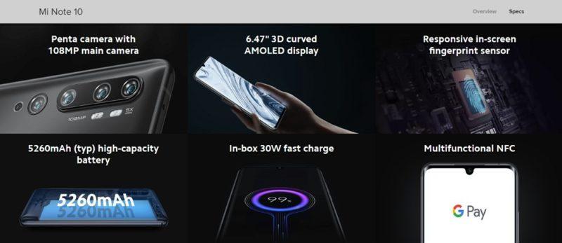 1億800万画素を含む5カメラ搭載の最新モデル「Mi Note 10」が発表?