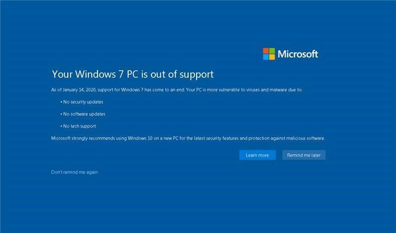お使いの Windows 7 PC はサポート対象外になっています