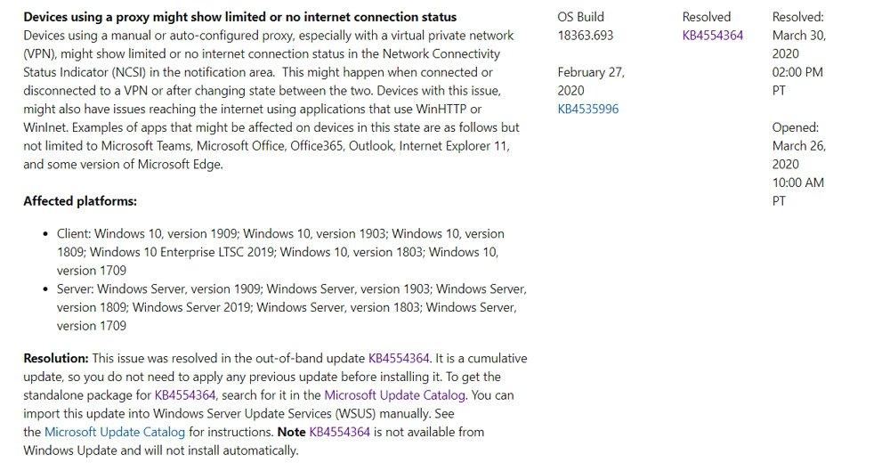 MicrosoftがWindows 10のプロキシ/VPN接続に関する不具合を修正する緊急パッチをリリース。手動で適用する必要があるのでご注意を。