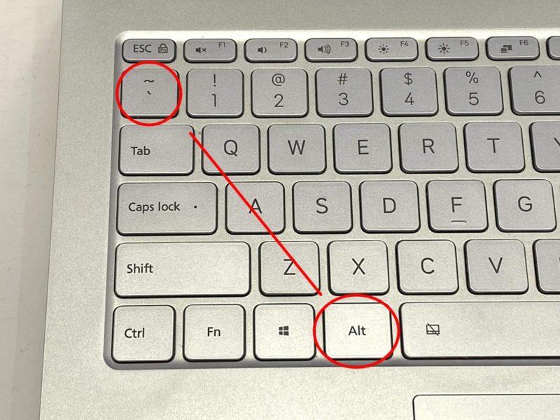 MS-IMEのオンオフ切り替え方法:【Alt+`】キー