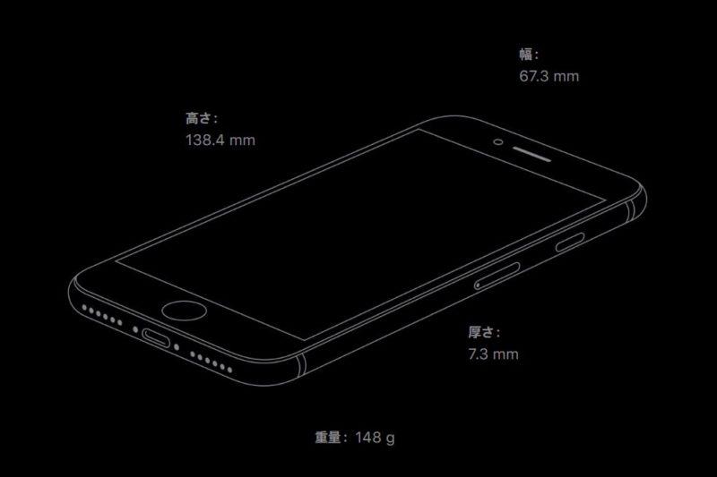 「iPhone SE(第2世代)」の大きさ/重さについて