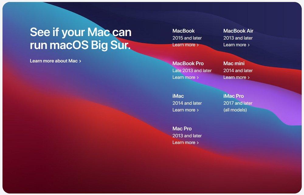 macOS Big Surにアップデート可能な Mac 対応機種一覧。