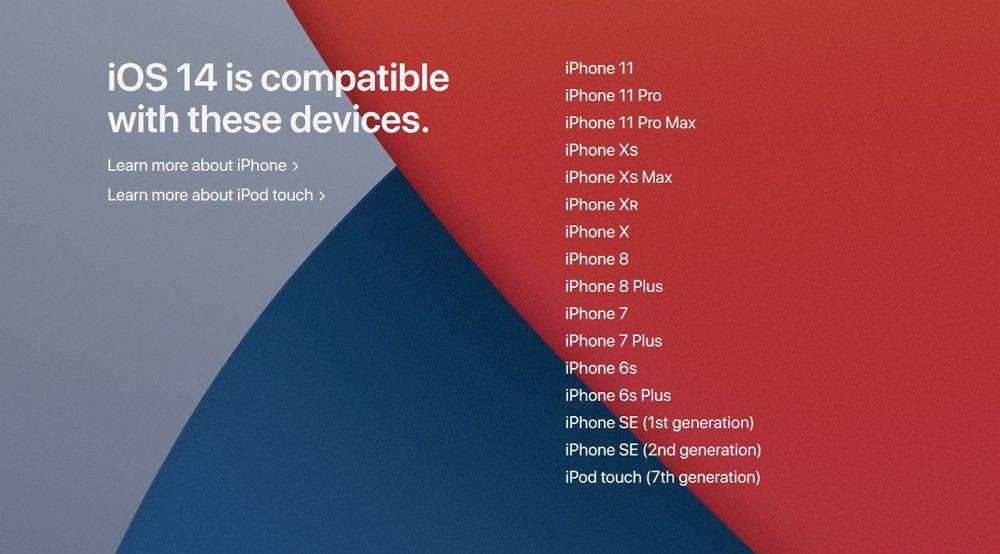 iOS 14にアップデート可能な iPhone 対応機種一覧。iOS 13から変更なし。iPhone SE(第1世代)も引き続き対応。