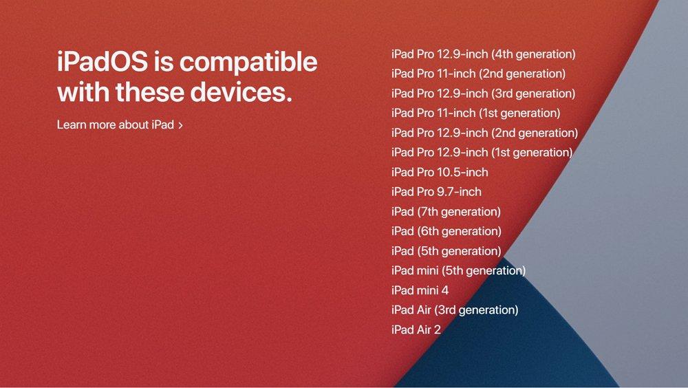 iPadOS 14にアップデート可能な iPad 対応機種一覧。iPad mini 4もアップデート可能。
