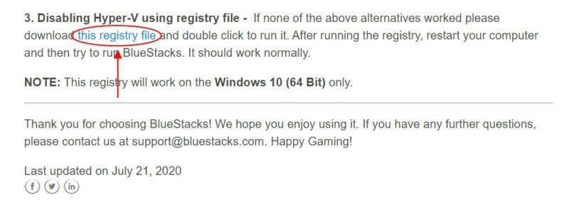 BlueStacks:Windows 10 Homeのレジストリを操作して「Hyper-V無効化エラー」に対処