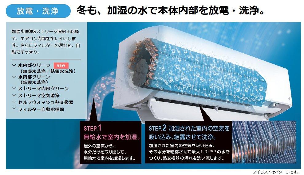 エアコンも空気も自動で綺麗に!加湿水洗浄&ストリーマ照射+乾燥&フィルター自動掃除など、充実機能が凄い!