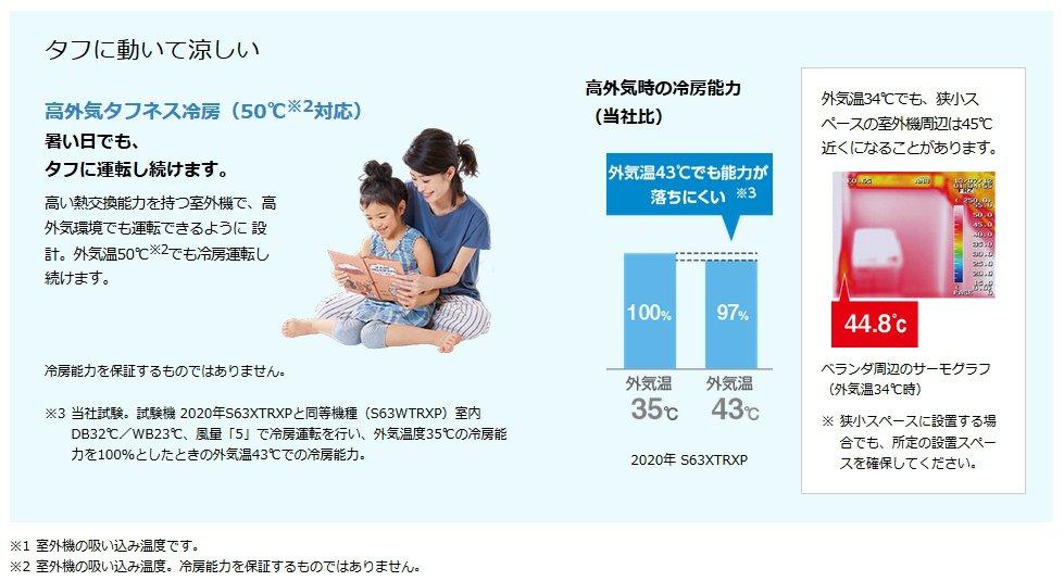 室外機の性能も高い!低外気タフネス暖房(-25℃対応)、高外気タフネス冷房(50℃対応)