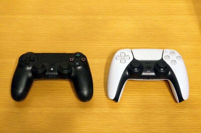 PS5とPS4のコントローラーの大きさ比較