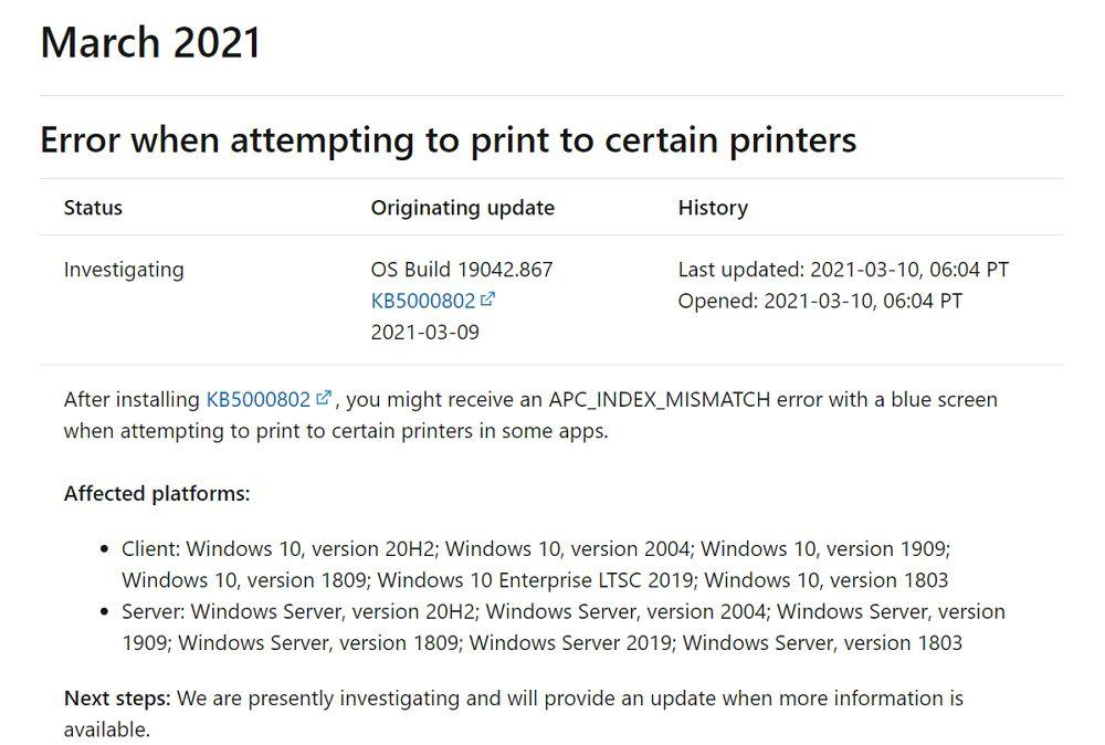 Windows 10:3月の月例パッチに不具合。特定のプリンター使用時にブルースクリーンでPCがクラッシュ。回避策有り。