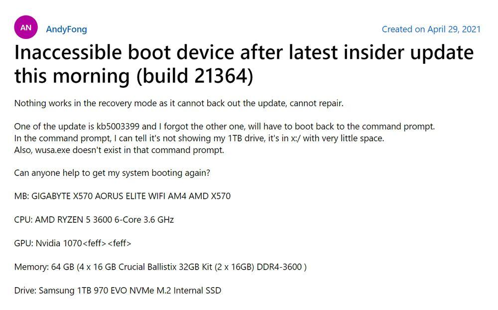 Windows 10:AMDマザーボード向けドライバイントール後にブルースクリーン発生の報告あり