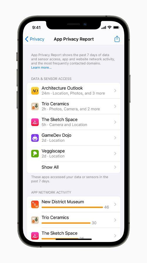 アプリケーションのプライバシーレポート