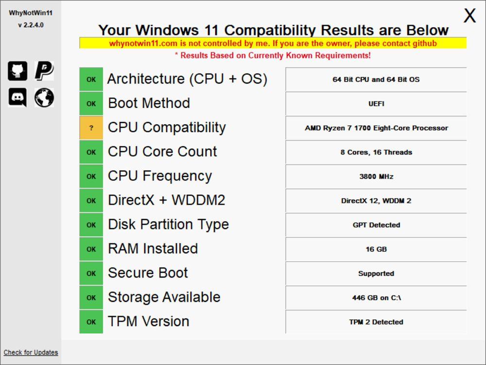 「WhyNotWin11」を使ってWindows 11への対応状況を調べる方法解説