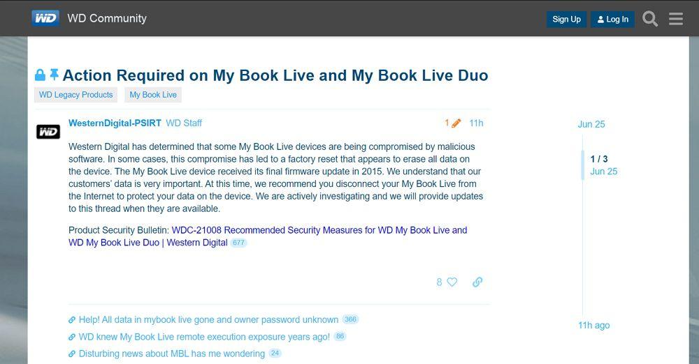 Western DigitalのNAS「My Book Live」で全データが消去される現象が発生中!利用中のユーザーは今すぐインターネット接続の切断を!