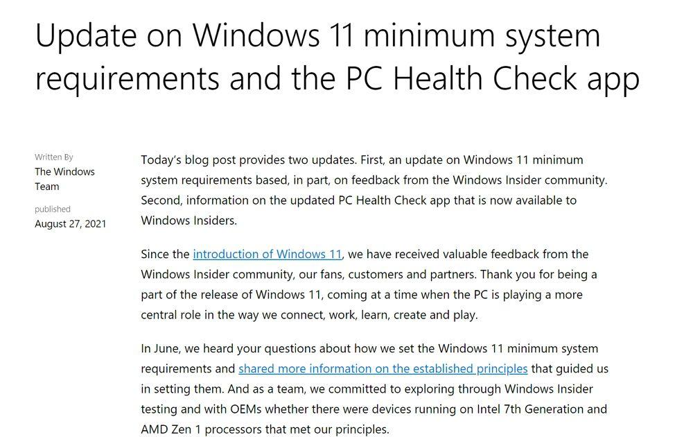 Microsoftが「Windows 11」にアップデートできるシステム要件を緩和も第1世代Ryzenは引き続き非対応。手動なら古いPCにインストール可能もサポートは無し?