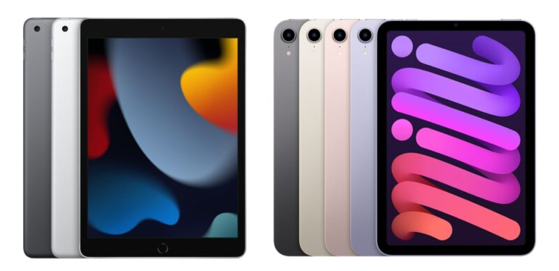 iPad(第9世代)と新型iPad miniのカラーラインナップ