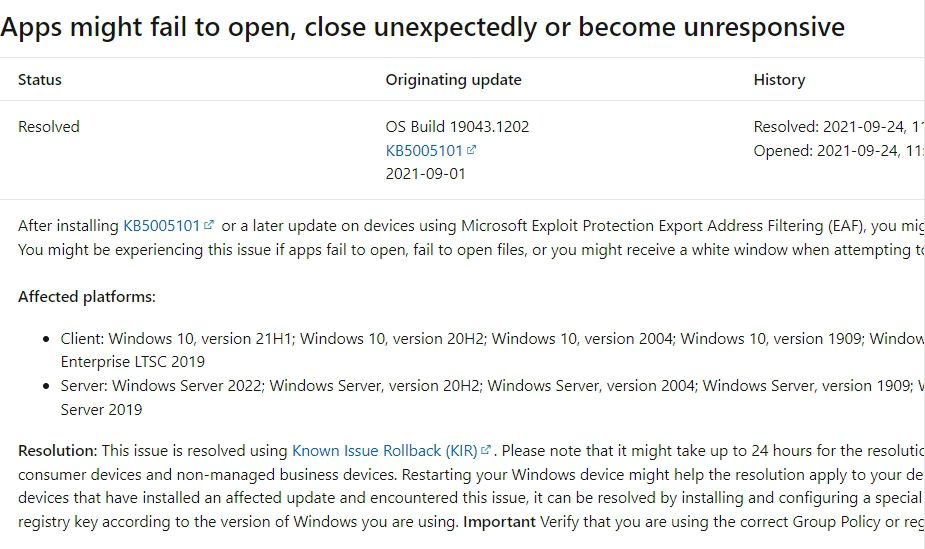Windows 10:KB5005101で発生したアプリやファイルが開けないなどの問題はロールバック「KIR」で解決済み